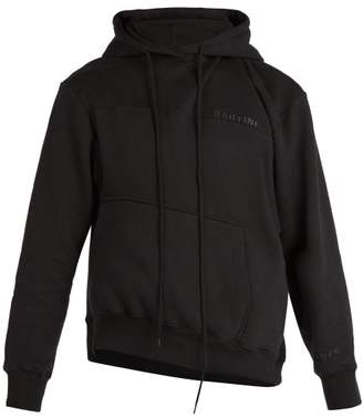 Martine Rose Asymmetric Hem Hooded Sweatshirt - Mens - Black