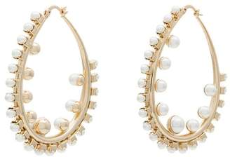 Anton Heunis gold plated pearl hoop earrings