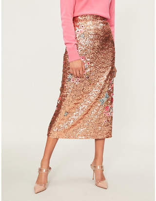 Erdem Floral-embellished sequinned midi skirt