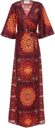 BA&SH Heart Printed Silk Maxi Wrap Dress