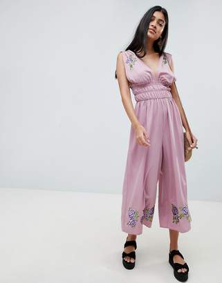 Asos DESIGN Ruched Waist Plunge Jumpsuit With Embroidery