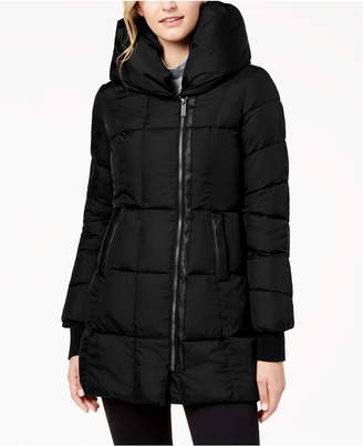 French Connection Faux-Leather-Trim Hooded Puffer Coat