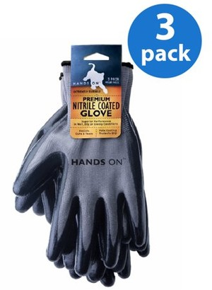 HANDS ONTM CD9400-L-3PK, 3 Pair Value Pack, Premium Smooth Finish Nitrile Coated Glove