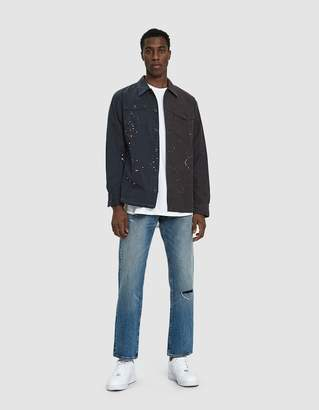 John Elliott Distorted Military Button Up Shirt in Washed Black