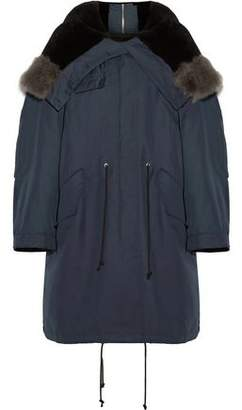 Calvin Klein Shearling-Trimmed Cotton And Wool-Blend Hooded Coat