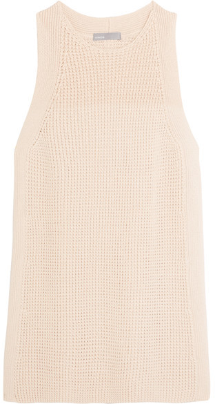 Vince - Waffle-knit Cotton Top - Cream