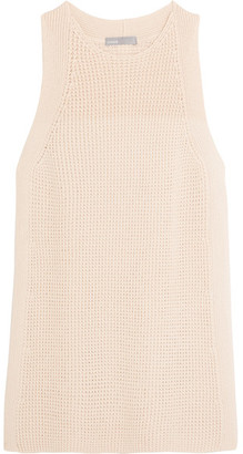 Vince - Waffle-knit Cotton Top - Cream $285 thestylecure.com
