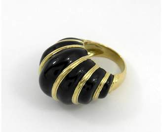 David Webb Gold Black Vintage Enamel Dome Ring