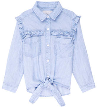 Rails Sully Ruffle-Trim Chambray Tie-Front Top, Size 6-14