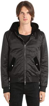 Nylon Bomber W/ Detachable Velvet Hood