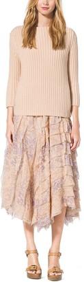 Michael Kors Floral-Print Ruffle Silk-Chiffon Skirt