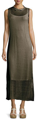 Eileen Fisher Fisher Project Funnel-Neck Semisheer Midi Dress $378 thestylecure.com