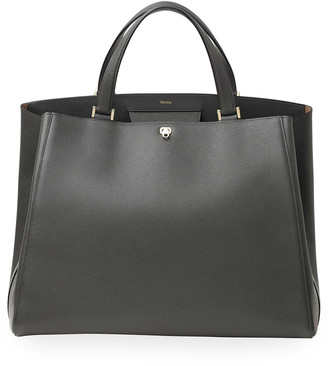 Valextra Brera Large Leather Top-Handle Tote Bag