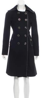 Tory Burch Leather-Trimmed Double-Breasted Coat