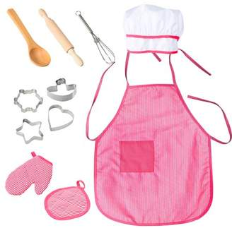 GlowSol 11 Pcs/Set Children Kids Cooking Kitchen Role Pretend Stripe Red Chef Play Gift Toy with Apron Hat Style:Stripe