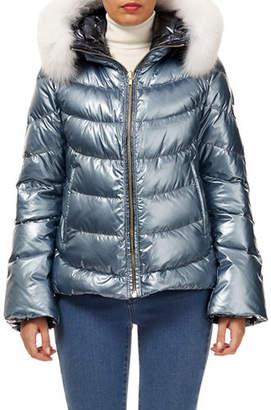 Gorski Reversible Fox-Fur Hood Quilted Puffer Apres-Ski Jacket