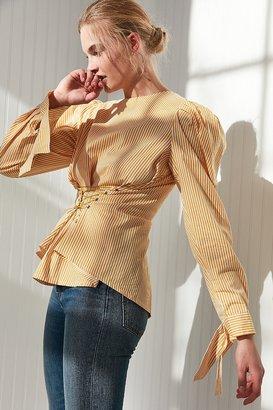 Style Mafia Shirred Shoulder Corset Shirt $135 thestylecure.com