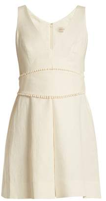 Zimmermann Painted Heart V Neck Linen Dress - Womens - Cream