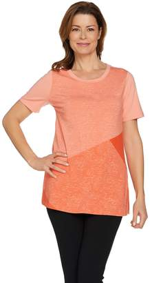 7926fe9e76403 Halston H By H by Short Sleeve Color Block Print Knit Tunic