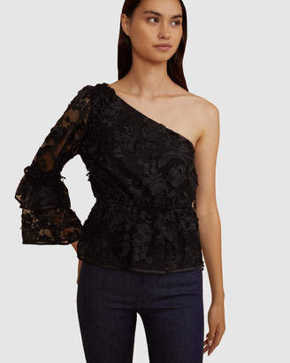Cynthia Rowley Beatrix Lace One Sleeve Top
