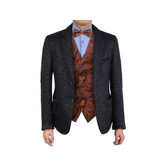 Epoint EGE2B01C-L Red Paisley Microfiber Waistcoat Pre-tied Bow Tie Set Possibly For Meeting