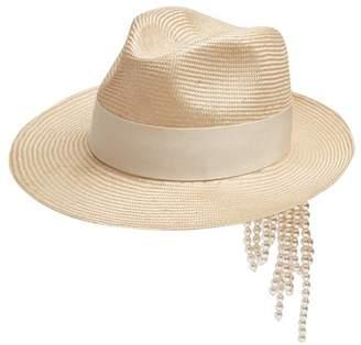 Federica Moretti - Gem Faux Pearl Embellished Straw Hat - Womens - Beige White