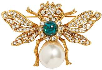 Kenneth Jay Lane Cabochon glass crystal glass pearl bee brooch