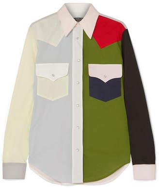 Calvin Klein Color-block Cotton-poplin Shirt - Green