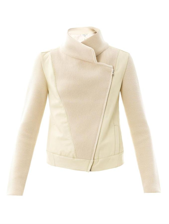 Ohne Titel Ribbed-knit and leather biker jacket