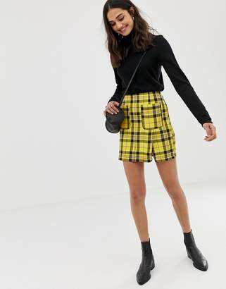 Asos Design Check Mini Skirt With Front Pockets Co-Ord