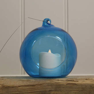 Garden Selections Glass Bauble Hanging Tealight Holder / Blue