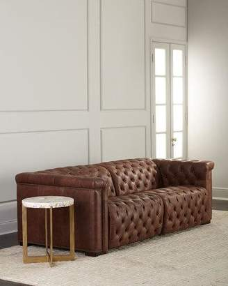 "Hooker Furniture Luca Tufted Leather Motion Sofa, 88"""