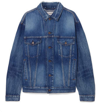 Balenciaga Oversized Printed Denim Jacket - Blue