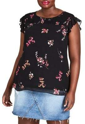 City Chic Plus Sleeveless Floral Top