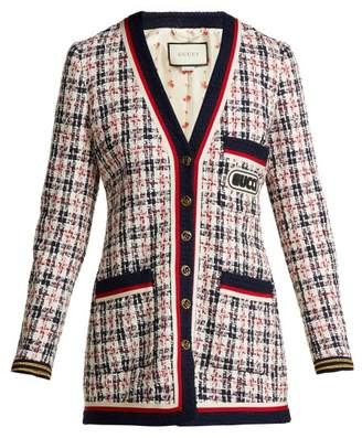 Gucci Logo Applique Tweed Cardigan - Womens - White Multi