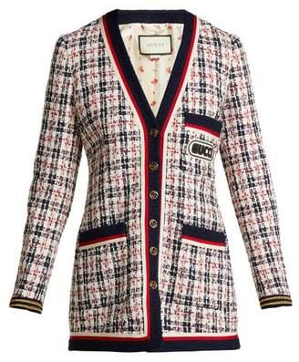 Gucci Logo Applique Tweed Cardigan - Womens - White Multi
