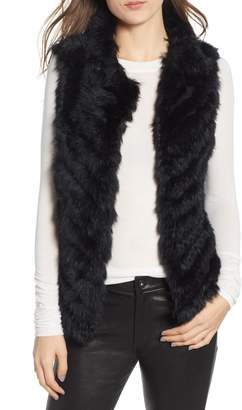 La Fiorentina Genuine Rabbit Fur & Acrylic Knit Vest