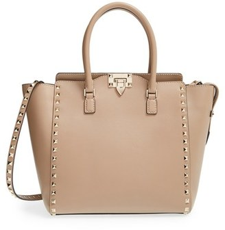 Valentino 'Rockstud' Leather Double Handle Tote - Beige $2,475 thestylecure.com