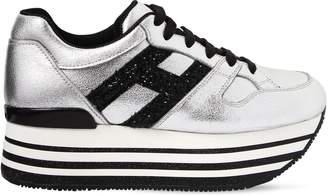 Hogan 70mm Maxi 222 Metallic Leather Sneakers