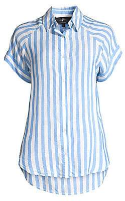 7 For All Mankind Women's Striped Cap-Sleeve Collared Shirt