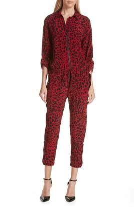Robert Rodriguez Leopard Print Crop Jumpsuit