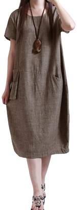 Romacci Women Casual Dress Solid Color Short Sleeve Pocket Vintage Maxi Long Dress