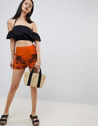 Asos DESIGN soft shorts with embroidery