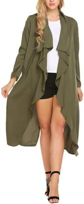 Meaneor Women's Solid Lightweight Knitted Open Front Long Trench Coat Cardigan L