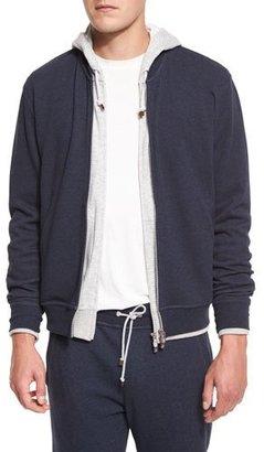 Brunello Cucinelli Baseball-Collar Zip-Up Sweatshirt, Blue $795 thestylecure.com