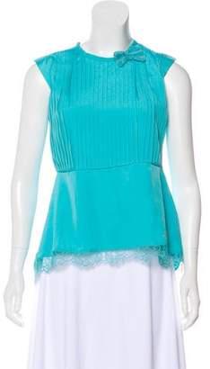 Miss Blumarine Short-Sleeve High-Low Top