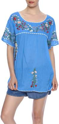Raj Lotus Embroidered Mexican Peasant top