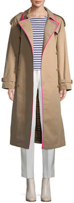 Burberry Contrast Trim Trench Coat