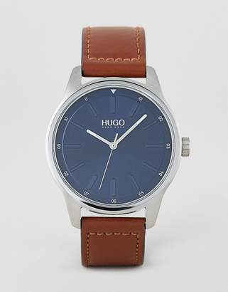 HUGO 1530029 Dare blue dial leather strap watch in brown