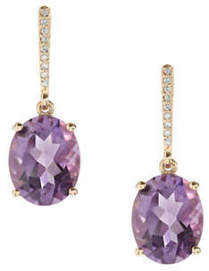 Town & Country 0.054 TCW Amethyst 14K Yellow Gold Earrings